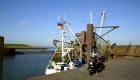Fischkutter und Oldtimer Roller am Dangaster Hafen